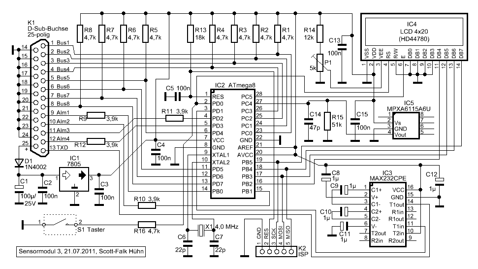 Elektronik-Projekte - Temperatur-Messsystem - Sensormodul 2/3